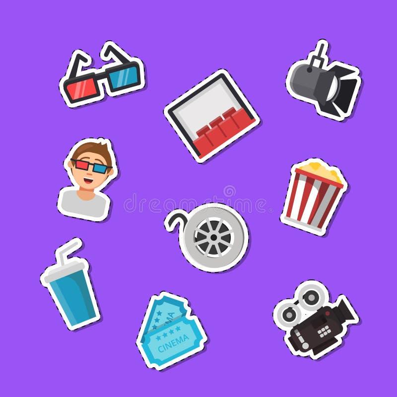 De vector vlakke stickers van bioskooppictogrammen geplaatst illustratie royalty-vrije illustratie