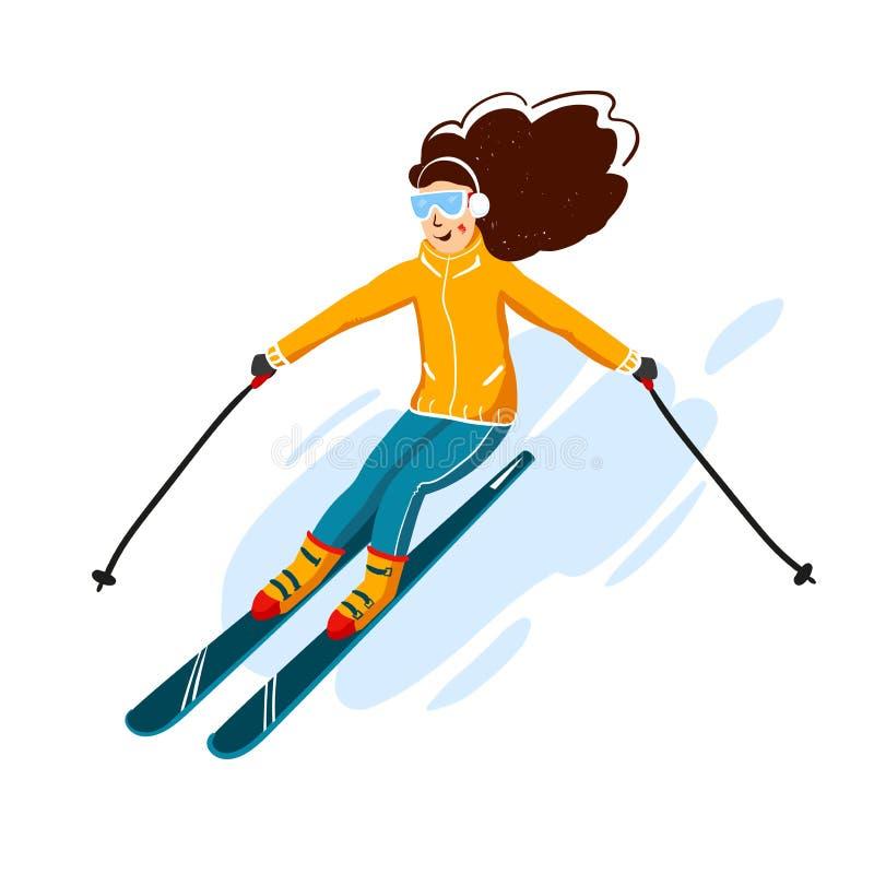 De vector vlakke stijl van het skiërsbeeldverhaal Vrouw in de skitoevlucht De activiteit van de de wintersport Eenvoudige karakte vector illustratie