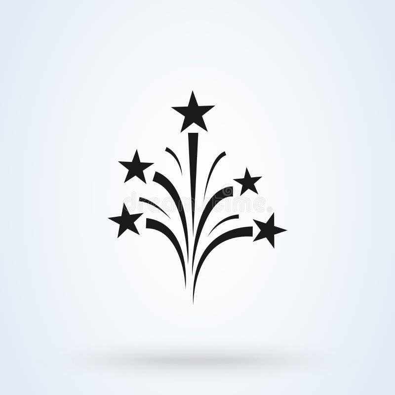 De vector, vlakke stijl van het vuurwerkpictogram Achtergrond op wit wordt geïsoleerd dat royalty-vrije illustratie