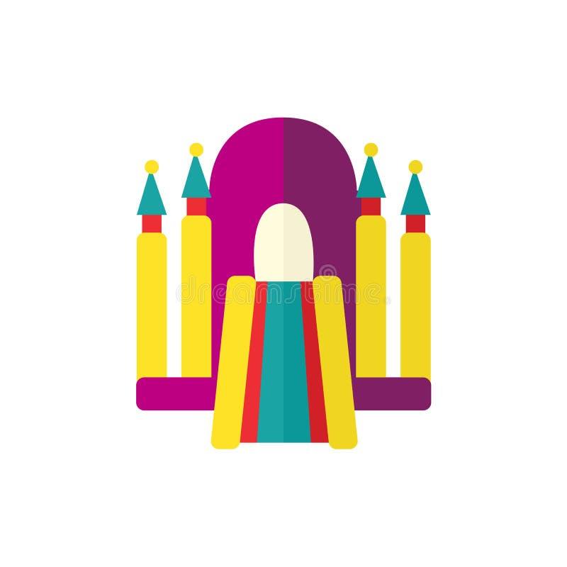 De vector vlakke trampoline van het bouncy opblaasbare kasteel stock illustratie