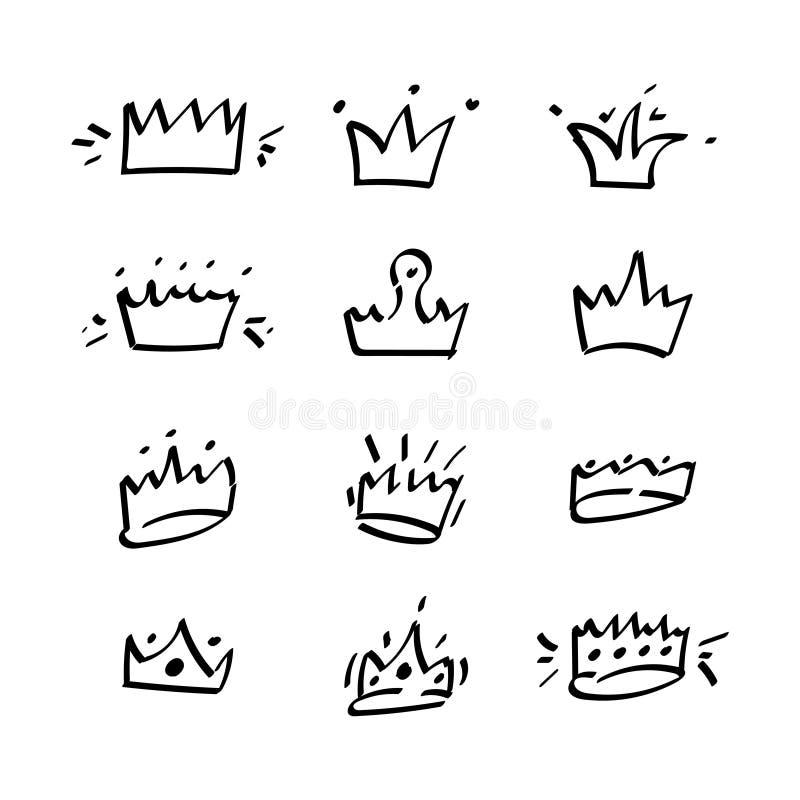De vector vlakke vastgestelde koninklijke kronen van schetspotloden vector illustratie