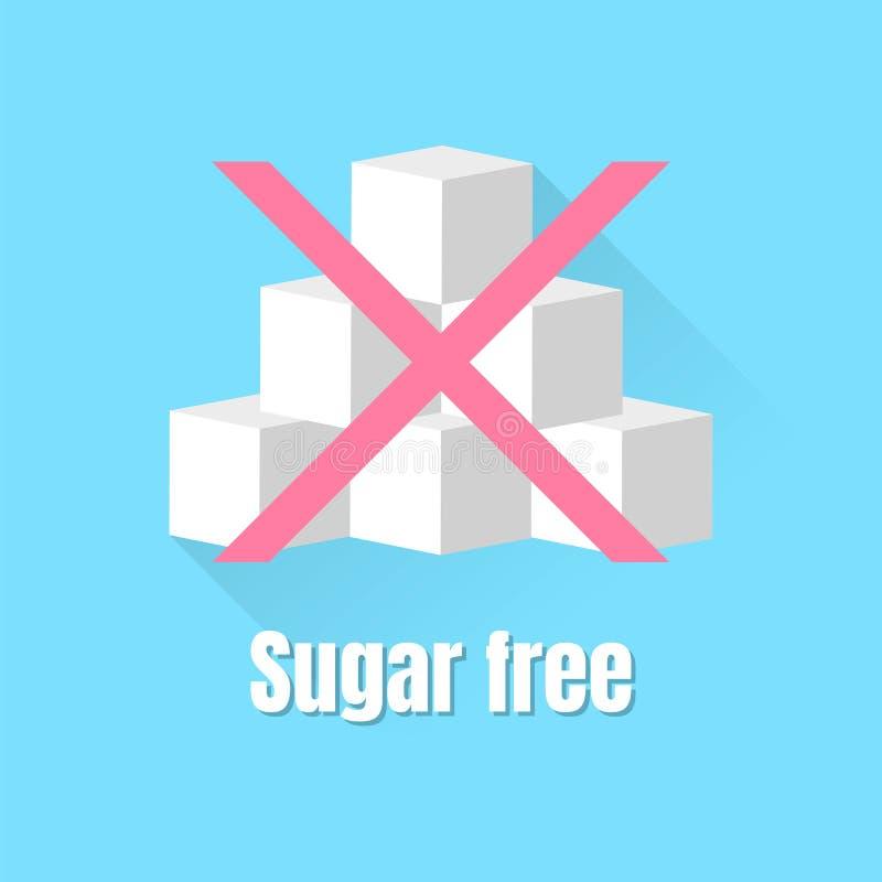 De vector vlakke vrije suiker van het pictogramteken stock afbeeldingen