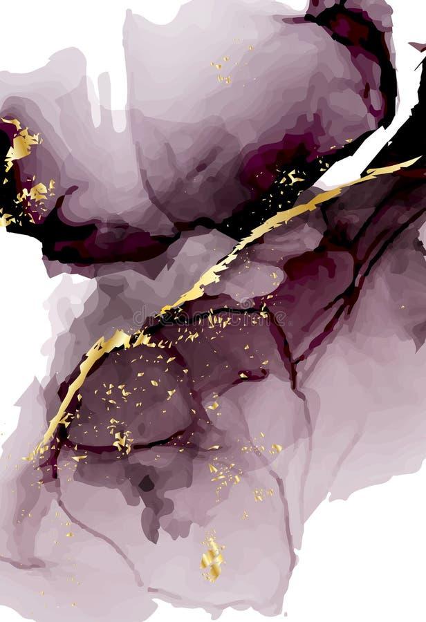De vector vloeibare stroom van de waterverfherhaling in tedere donkere violette grijze kleuren met goud schittert De vectorsamenv royalty-vrije illustratie