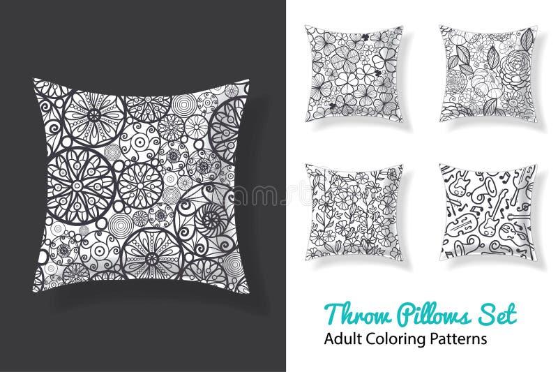 De vector volwassen kleurende patronendrukken op een reeks van werpen hoofdkussens in zwart-wit Groot als huisdecor en kunstactiv royalty-vrije illustratie