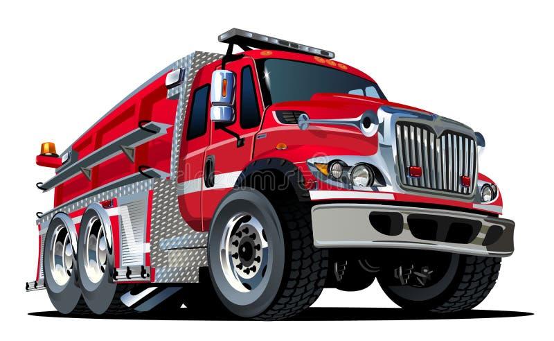 De vector Vrachtwagen van de Brand van het Beeldverhaal stock illustratie