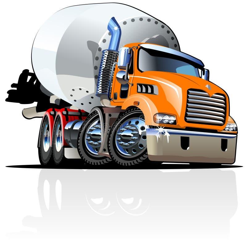 De vector Vrachtwagen van de Mixer van het Beeldverhaal vector illustratie