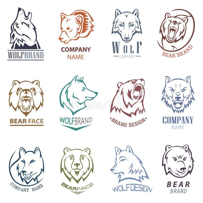De vector wilde dierlijke wolf van het beerembleem of grijs karakter logotype en wolfish de illustratiewild van het mascotteteken royalty-vrije illustratie