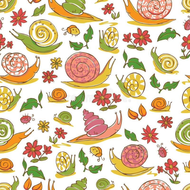 De vector witte hand getrokken slakken en de bloemen herhalen patroon Geschikt voor giftomslag, textiel en behang royalty-vrije illustratie