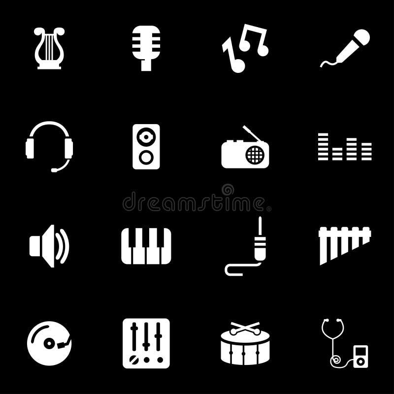De vector witte reeks van het muziekpictogram royalty-vrije illustratie