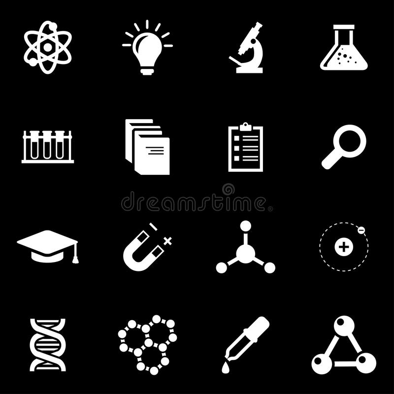 De vector witte reeks van het wetenschapspictogram stock illustratie