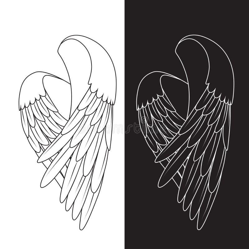De vector witte vleugels stock afbeeldingen