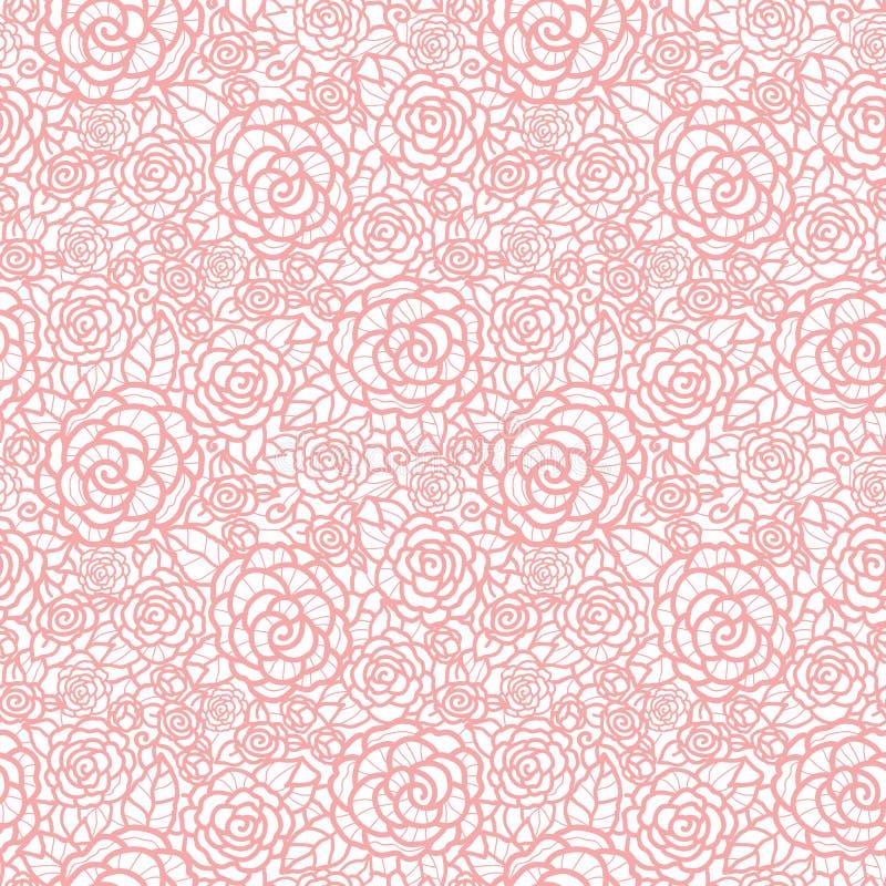 De vector zachte naadloze rozen van het pastelkleur roze kant herhalen patroonachtergrond Groot voor huwelijk of bruids douchedec vector illustratie