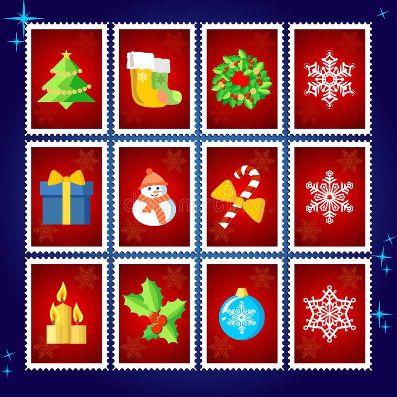 De vector Zegels van Kerstmis vector illustratie