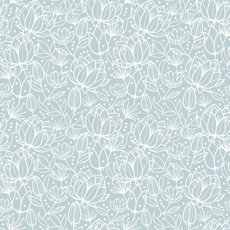 De vector zilveren grijze lente bloeit naadloze textuur herhaalt patroon bacgkround ontwerp Groot voor de kaarten van de de lente stock illustratie