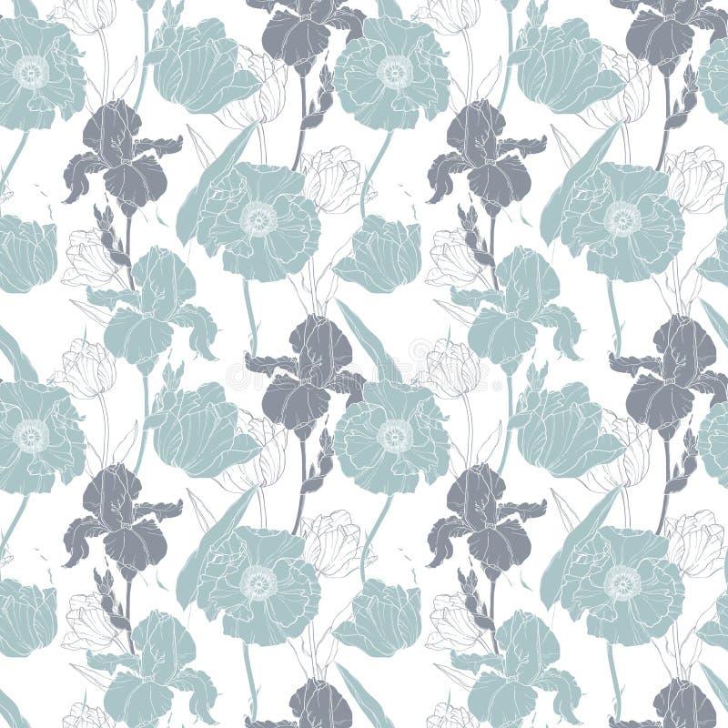 De vector zilveren grijze papavers en tulpen bloemen naadloos herhalen patroonachtergrond Groot voor huwelijk of bruids douche vector illustratie