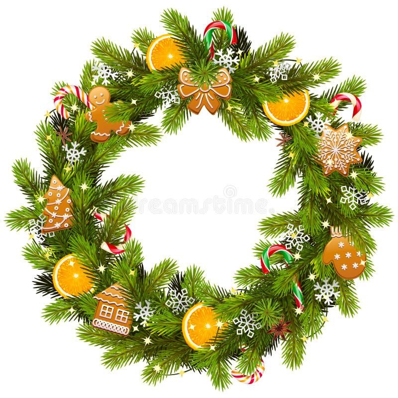 De vector Zoete Kroon van de Kerstmisspar royalty-vrije illustratie