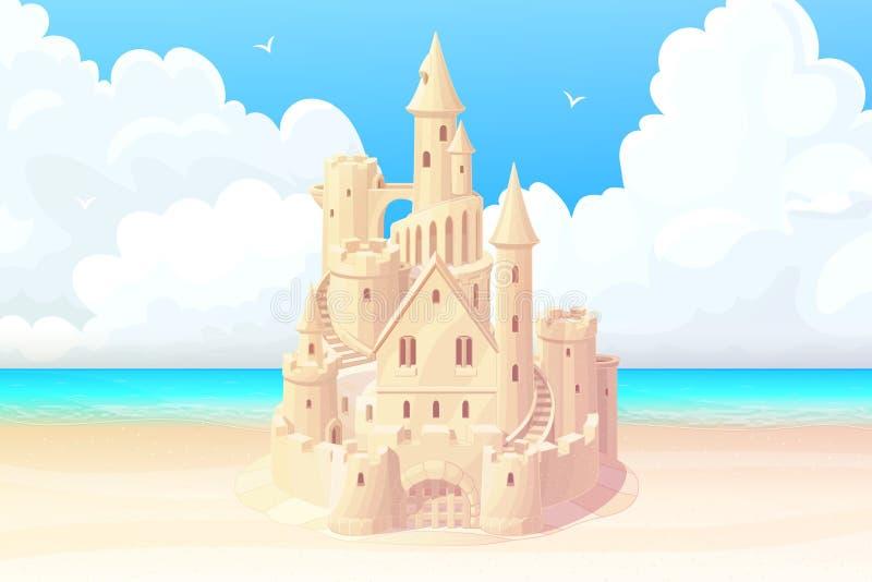 De vector de zomer van het overzeese banner strandzandkasteel vector illustratie