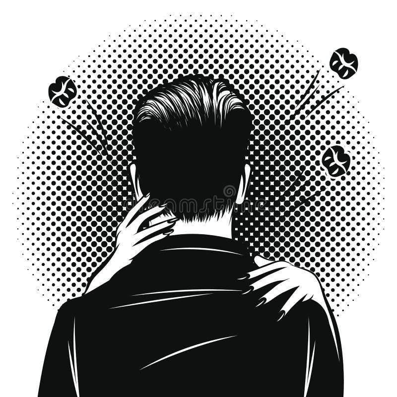 De vector zwart-witte illustratie van de pop-art grappige stijl van een vrouw die een man koesteren Romantische datum met omhelzi stock illustratie