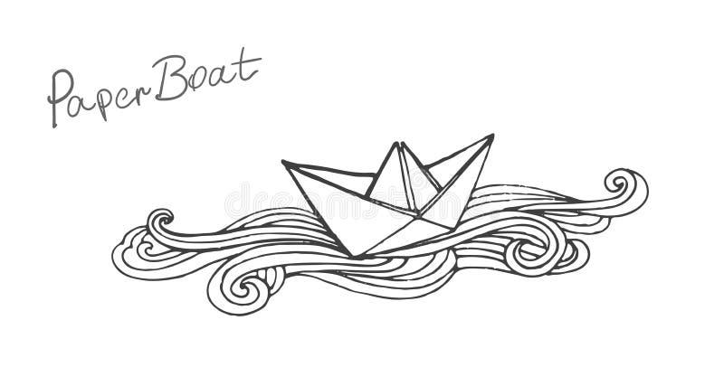 De vector zwart-witte krabbeldocument illustratie van de schipboot vector illustratie
