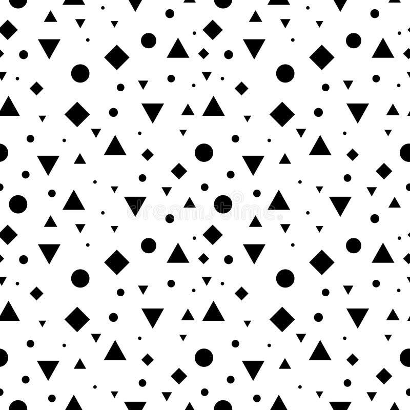 De vector Zwart-witte Uitstekende Geometrische Naadloze Vormen herhalen Patroonachtergrond Perfectioneer voor Stof, Verpakking stock illustratie