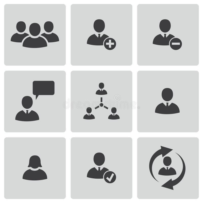 De vector zwarte geplaatste pictogrammen van bureaumensen royalty-vrije stock afbeelding