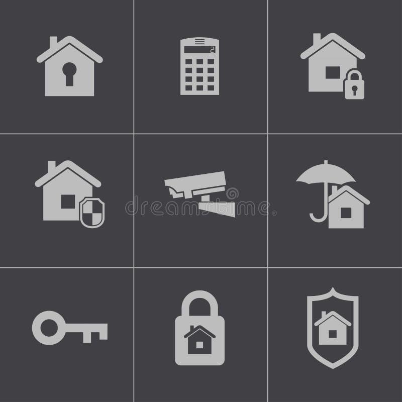 De vector zwarte geplaatste pictogrammen van de huisveiligheid stock illustratie