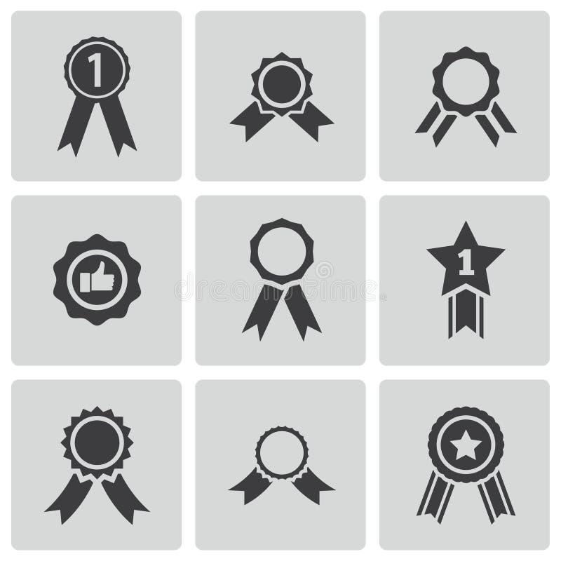 De vector zwarte geplaatste pictogrammen van de toekenningsmedaille stock afbeelding