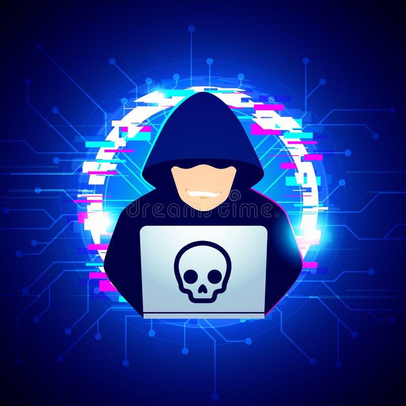 De vector zwarte hoodiehakker van de illustratiecomputer spreidde netto uit - proberend cyber aanval op laptop met glitch achterg stock illustratie