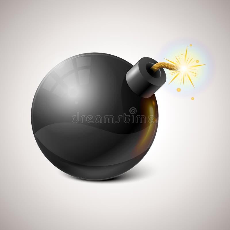 De vector Zwarte Illustratie van de Bom stock illustratie