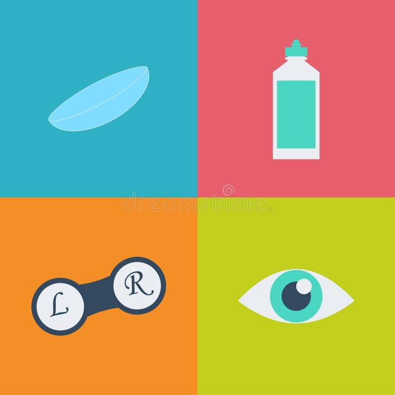 De vector zwarte reeks van het optometriepictogram Opticien, oftalmologie, visiecorrectie, oogtest, oogzorg, kenmerkend oog royalty-vrije illustratie