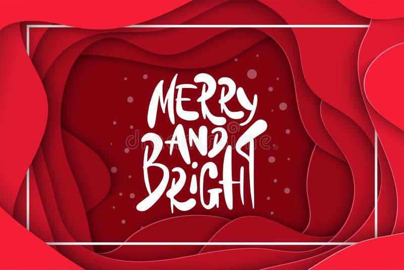 De vectorachtergrond met donkerrood kleurendocument sneed vormen 3D abstracte Vrolijk en Helder, Kerstmis het van letters voorzie royalty-vrije illustratie