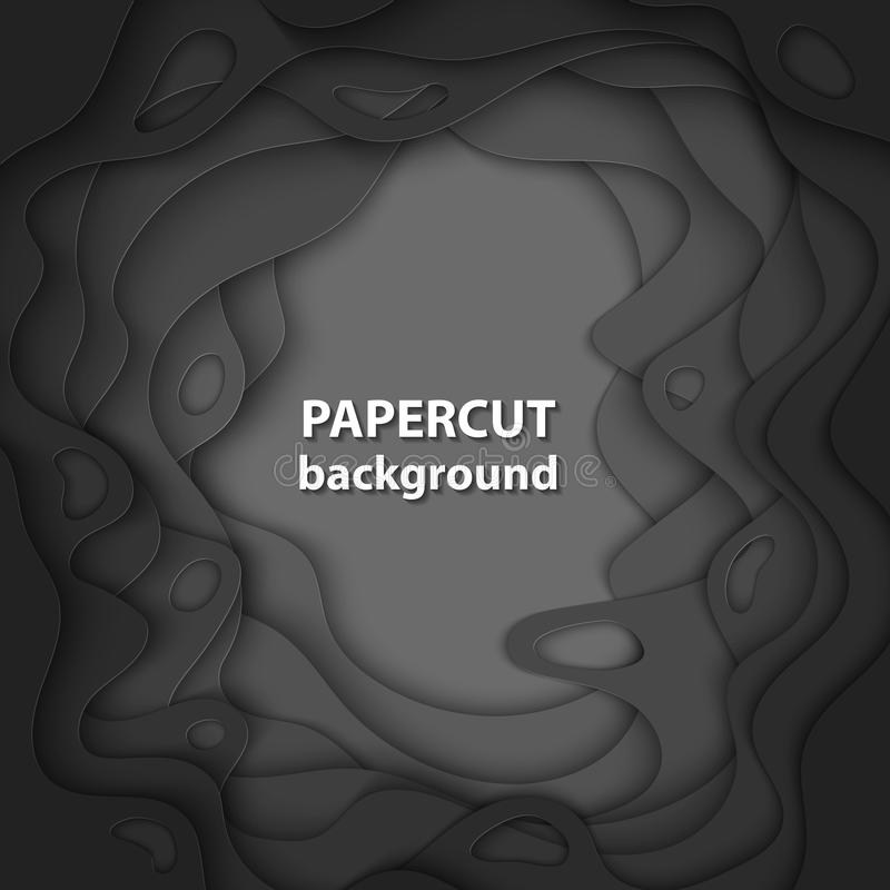 De vectorachtergrond met zwart kleurendocument sneed vormen 3D Samenvatting royalty-vrije illustratie