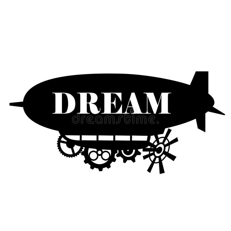 De vectorachtergrond stileerde fantastisch luchtschip met een plaats voor de tekst De zwarte etiketten van het silhouet dirigible vector illustratie