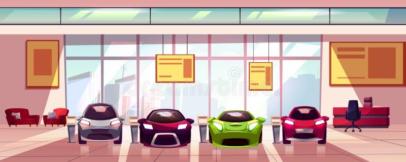 De vectorachtergrond van de autotoonzaal Auto het handel drijvenshowcase stock illustratie