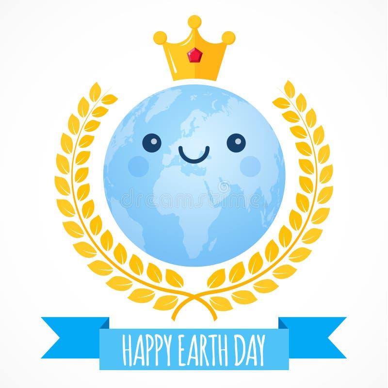 De vectorachtergrond van de aardedag Beeldverhaalbol met gouden kroon en lauwerkrans Leuke planeet Illustratie voor 22 April vector illustratie