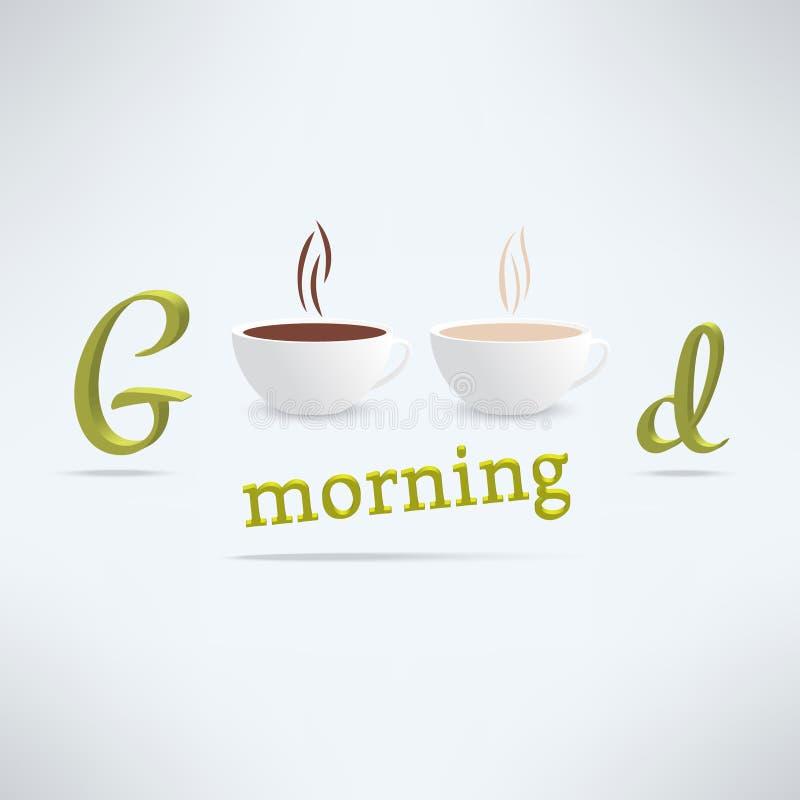 De vectorachtergrond van de goedemorgenkoffie met koppen stock illustratie