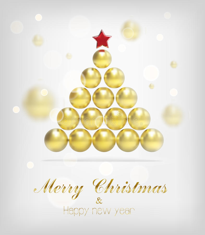 De vectorachtergrond van de Kerstmis gouden boom stock illustratie