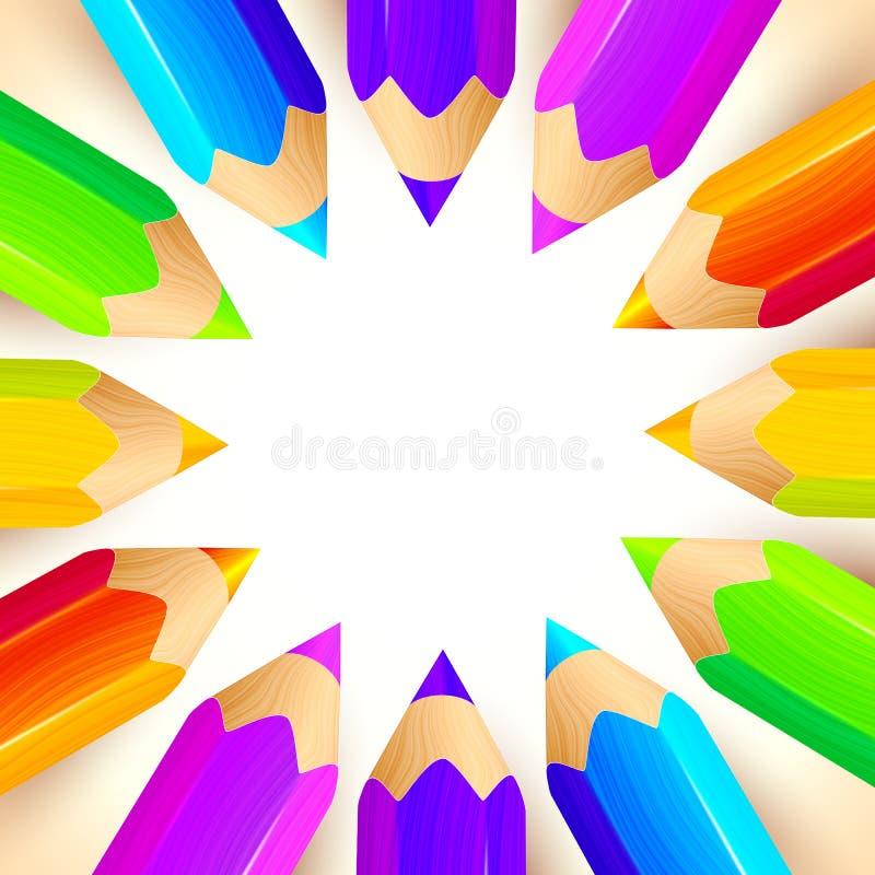 De vectorachtergrond van de kleurpotlodencirkel vector illustratie