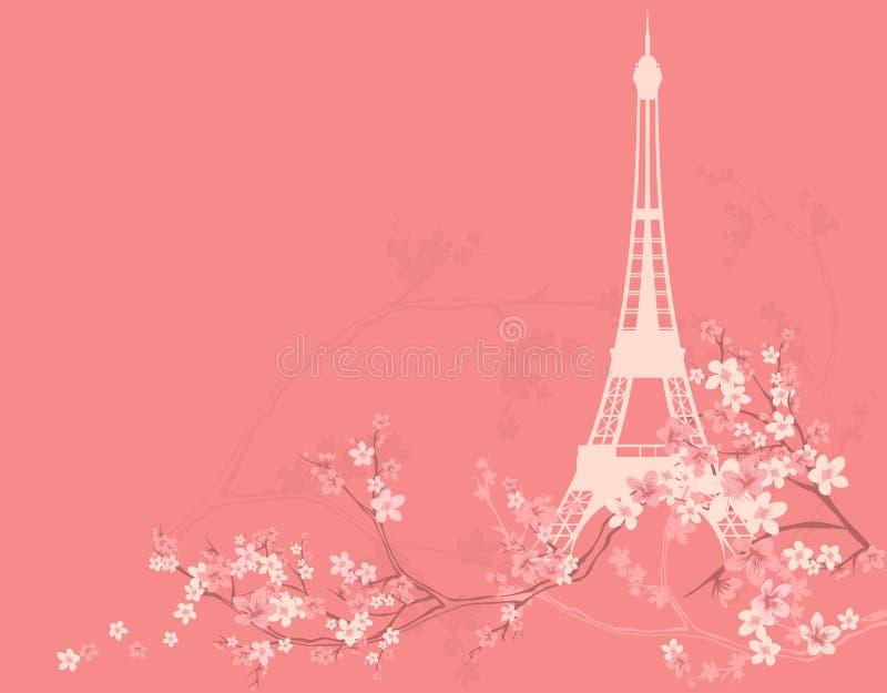 De vectorachtergrond van de lenteparijs met de torensilhouet van Eiffel vector illustratie