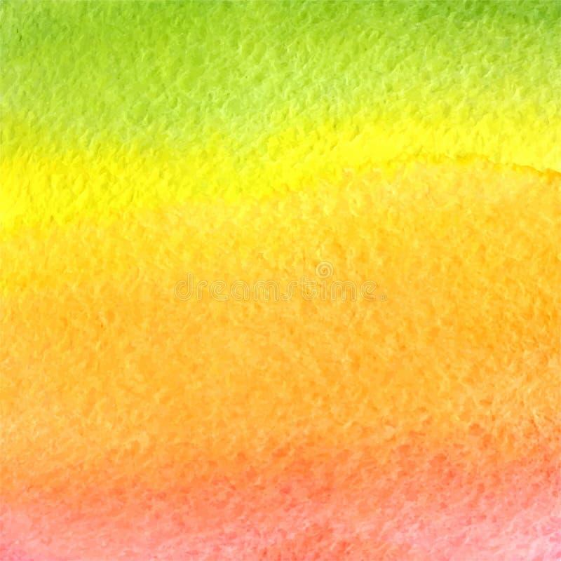 De vectorachtergrond van de waterverf groene, oranje, gele en roze gradiënt royalty-vrije illustratie