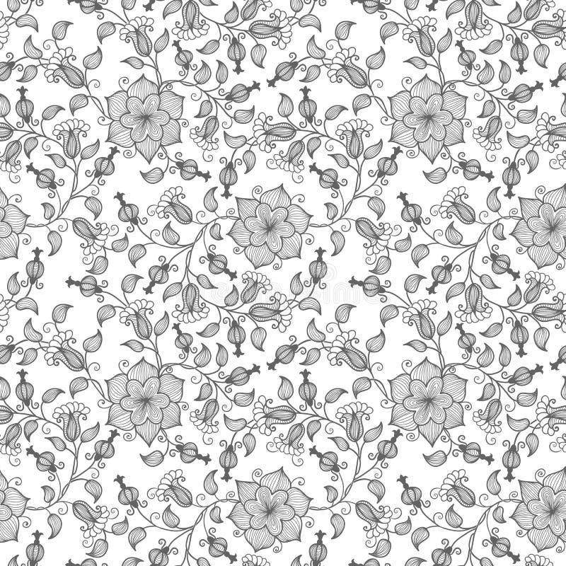 De vectorachtergrond van het bloem naadloze patroon Elegante textuur voor achtergronden Klassieke luxe ouderwetse bloemen vector illustratie