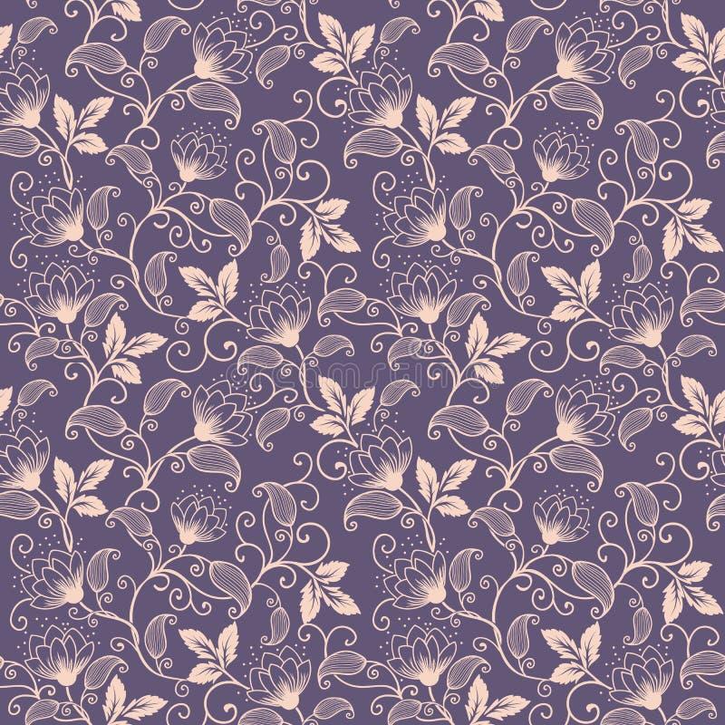 De vectorachtergrond van het bloem naadloze patroon Elegante textuur voor achtergronden Klassieke luxe ouderwetse bloemen royalty-vrije illustratie