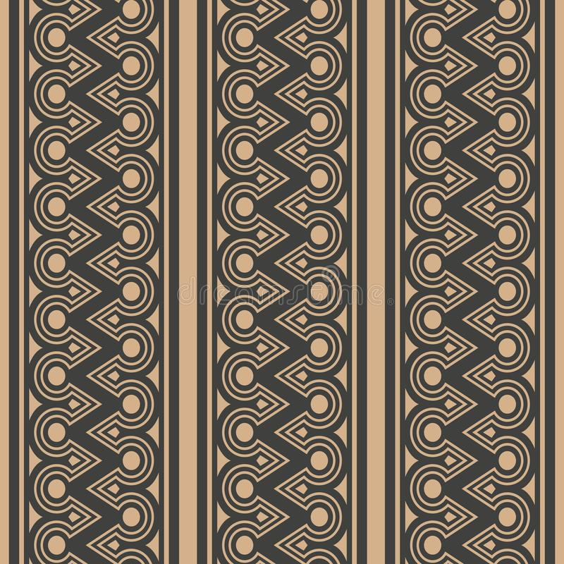 De vectorachtergrond van het damast naadloze retro patroon om het kaderketen van de driehoeks inheemse meetkunde dwarslijn Elegan royalty-vrije illustratie