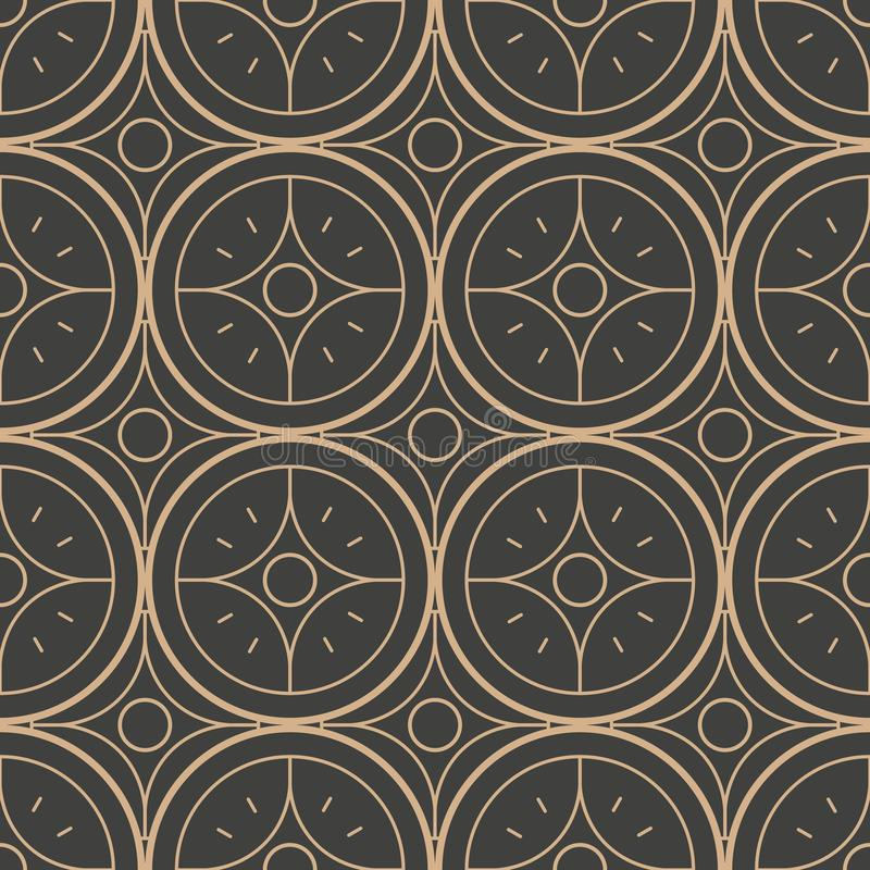 De vectorachtergrond van het damast naadloze retro patroon om de keten van het kromme de dwarskader bloem van de puntlijn Het ele stock illustratie