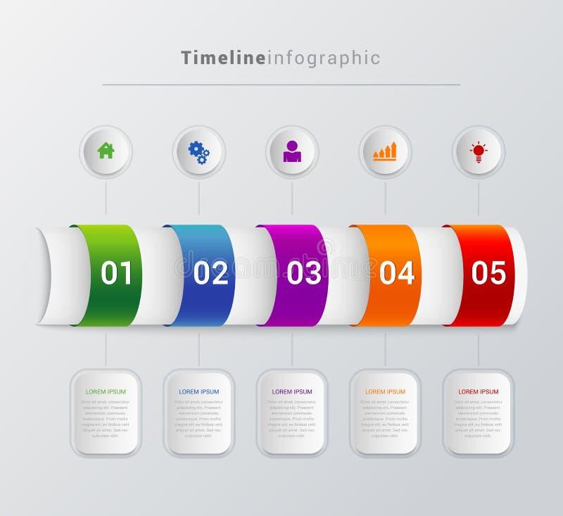 De vectorachtergrond van het infographicsmalplaatje van chronologiestappen vector illustratie