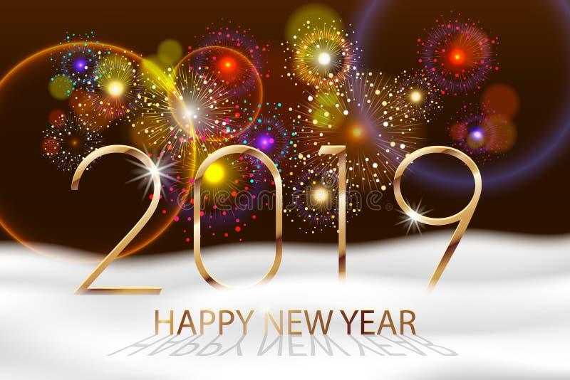 De vectorachtergrond van het Vakantievuurwerk Gelukkig Nieuwjaar 2019 Seizoenengroeten, kleurrijk vuurwerkontwerp met witte sneeu vector illustratie