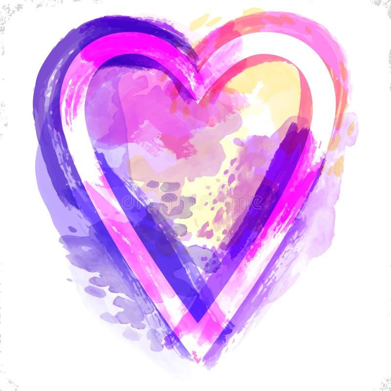 De vectorachtergrond van het waterverfhart De dag van Valentine, Kleurrijk textuurkader Uitstekend kleurrijk roze violet hart wat vector illustratie
