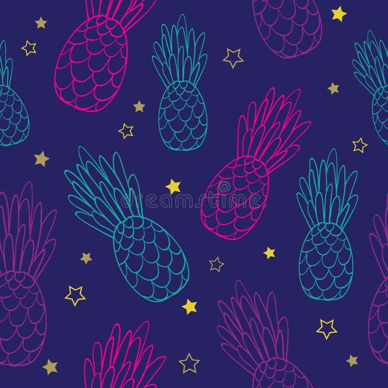 De vectorachtergrond van het de zomer tropische naadloze patroon van krabbel donkerblauwe roze ananassen Groot als textieldruk, p royalty-vrije illustratie