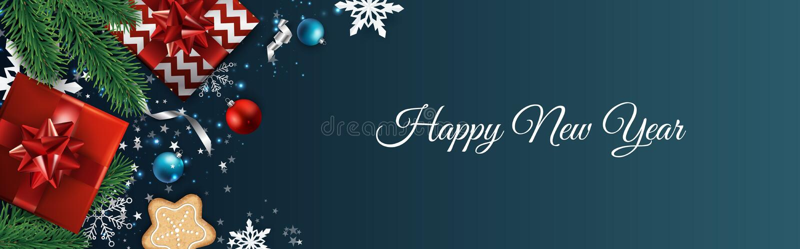 De VectorAchtergrond van Kerstmis De kaart van de ontwerpgroet, banner, affiche De hoogste doos van de meningsgift, de ballen van royalty-vrije illustratie