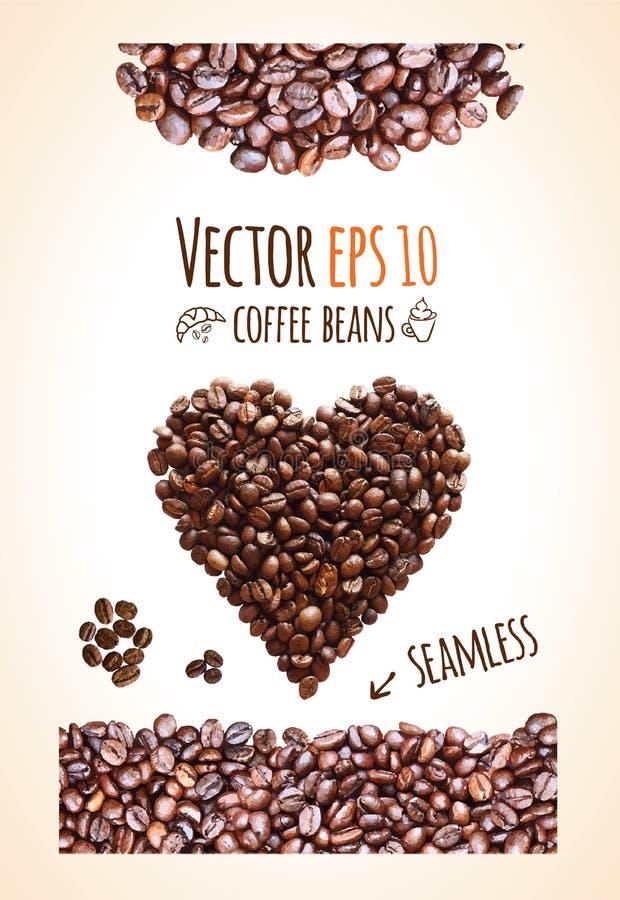 De vectorachtergrond van koffiebonen met plaats voor uw tekst royalty-vrije stock fotografie